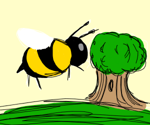Morbidly gigantic bee about to eat a tree