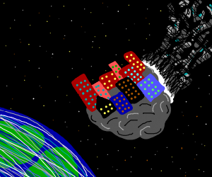 A city on a flying rock crashes to Earth