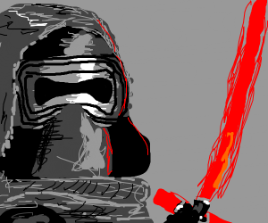 Kylo Ren Stares At His Lightsaber