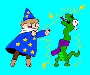 Wizard throws lightning at snakeman.