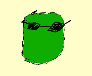 green face with sunglasses and no mouth nose