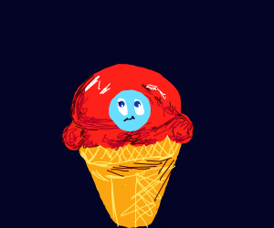 strawberry ice cream with a blue face