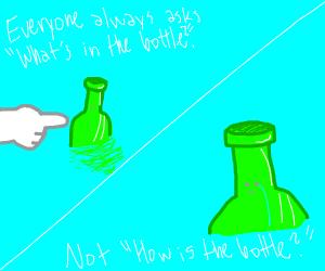 How does the bottle on the ocean feel?