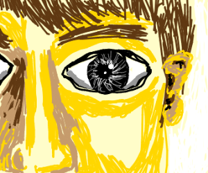 Yellow person with crazy eyes