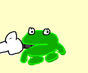 A frog carrying a sword in it's mouth