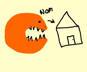 Orange blob eats house