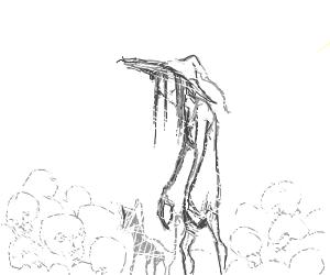 Creepy skinny witch