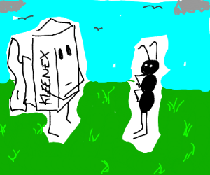 Tissue box stares at ant