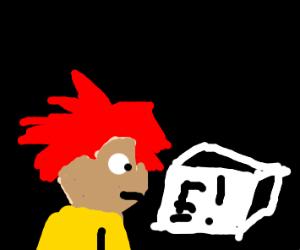 Redhead is unamused by 'E' meme