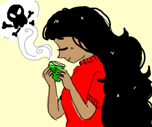 Girl drinking poison