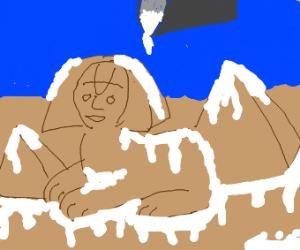 sphinx and pyramids of giza with kyro yogurt