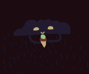 Rain cloud enjoys ice cream cone