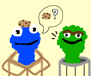 Cookie monster w/ Oscar the Grouch