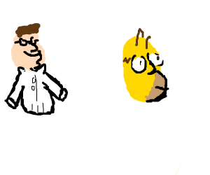 Tiny Peter Griffin and Homer's head