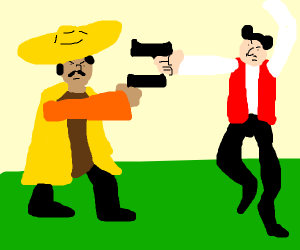 Mexican and Spaniard about to duel