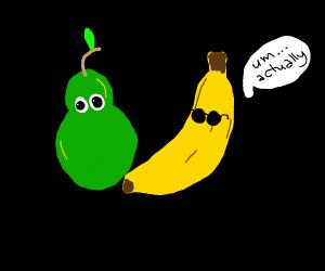 Banana with sunglasses correcting a pear