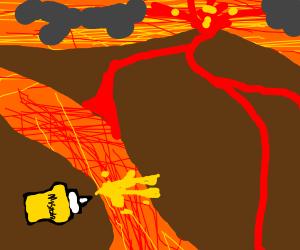 Mustard jumping over Lava
