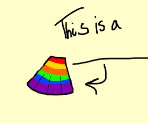 Rainbow skirt.