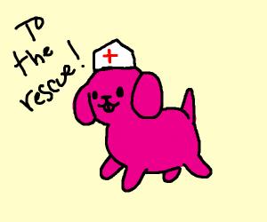 pink nurse pupper