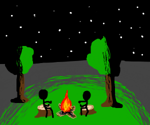 two stickfigures warming hands on campfire