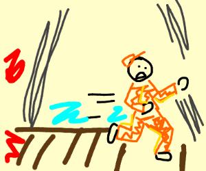 Prisoner runs from danger on a bridge