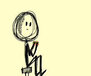 stick guy holding a sandwich