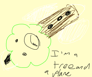 Tree with downward facing airplane wings
