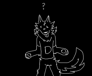 a skinny human wolf with a t-shirt saying D