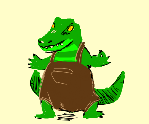 dual tailed alligator wearing overalls