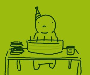 Man alone at his birthday