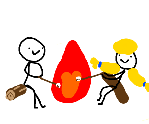 A boy and girl roasting marshmallows
