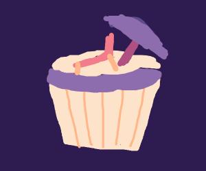 Beach-Themed Cupcake