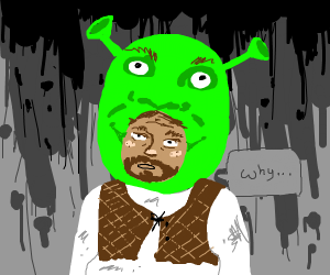 Man in Shrek mask questions reality