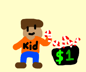 Kid selling candy canes