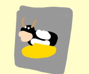A poster of a cow stuck in cheese
