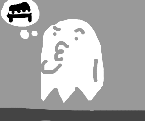 A ghost is considering playing the piano