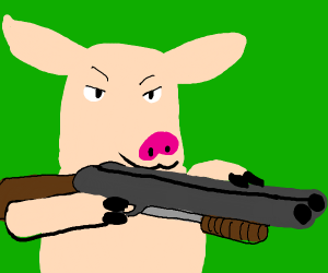 A pig wanting to kill a man