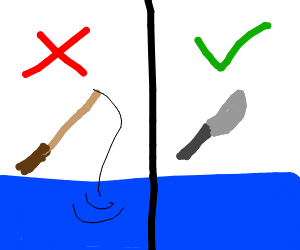 Fishing with a knife