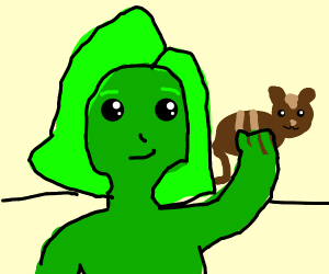 Green Person Holding Cat
