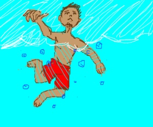 man swimming with blue bubbles around him