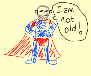 Old man in superman costume denies his age