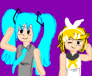 Hatsune Miku and a blonde haired girl