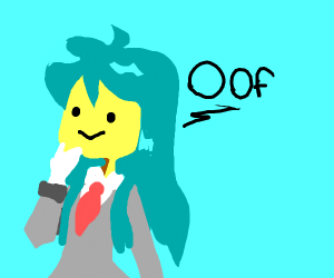 Long blue anime haired girl says oof
