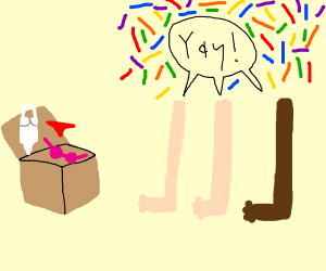 a box with a bra and lingerie legs celebrates