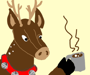 reindeer with hot cocoa