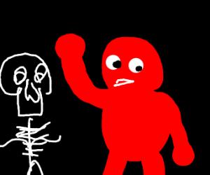 A skeleton talking to Elmo