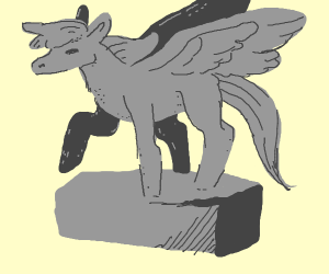 Statue of a young pegasus.