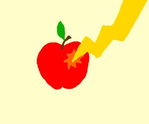 Lightning hits an apple