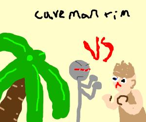 robot vs caveman in caveman's time period