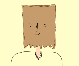 Man with paper bag face